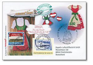 DIRNDL,Stickereibriefmarke auf Zeppelin-Post-Beleg, Österreich    932672600