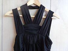 NWT $128 La ROK Black Jersey Knit Strapp y Draped Top Babydoll Empire Waist M