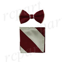 New Men's Two Tones Pre-tied Bow Tie & Hankie Set Burgundy Gray formal wedding