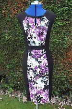 White House smart black & purple insert sleeveless dress Knee length size 8