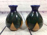 "2 Vintage Norleans Vases Glaze Drip Design Ceramic - 5"" Tall / Japan Art Pottery"