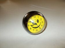 Tozai small sized round ball shaped smiley face bedside battery alarm clock used
