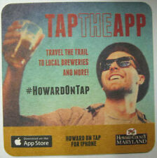 HOWARD ON TAP Beer COASTER, Mat with MAN, MARYLAND, Tap the App, HowardOnTap