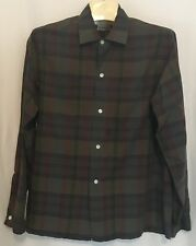 Vintage BRENT Mens M 15-15.5 Gray/Brown Plaid Shirt 100% Cotton Montgomery Ward
