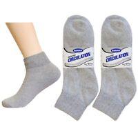 6 Pair Diabetic Ankle Circulatory Socks Health Support Men Loose Fit Grey 10-13