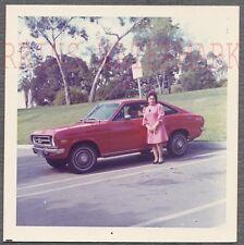 Vintage Car Photo Woman w/ RED 1971 1973 Datsun 1200 Sport Coupe Nissan 744544
