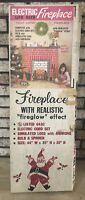 "LIFE SIZE ELECTRIC FIREGLOW FIREPLACE w 44"" Mantle Logs & Andirons vtg 70s USA"