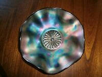 Vintage Fenton Iridescent Blue Carnival Glass Bowl