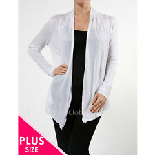 SOFT LONG SLEEVE FLYAWAY/ CARDIGAN W/ 2 SIDE DRAPED POCKETS PLUS SIZE 1X 2X 3X