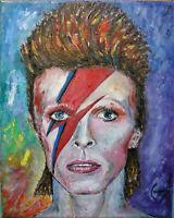 SANE BOWIE david oil painting portrait canvas original art 8x10 signed Crowell $