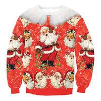 Unisex Ugly Christmas Sweater Santa Novelly Womens Mens Xmas Jumper Sweatshirt