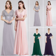 Womens White Bridesmaid Dress Formal Evening Prom Cocktail Party Gown Cap Sleeve