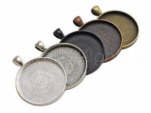"Round Pendant Trays - 30mm - Antique Bronze Copper Silver Black - 1 3/16"" inch"