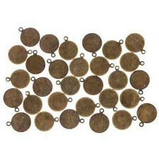 30 Metal Stamping Blanks Bronze 10mm Initial Charms Jewelry Tags Circle