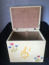 Vintage 1960s LP Vinyl Record Storage Ottoman, Chest, Box, Yellow with Flowers