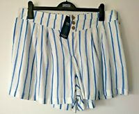 LADIES M&S SIZE 18 BLUE WHITE STRIPED SOFT PULL ON SHORTS FREE POST