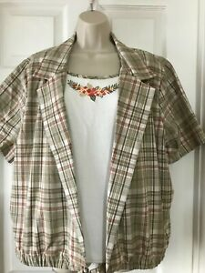 Alfred Dunner Women's 20W Mock Two Piece Plaid Top With Floral Embroidery SS