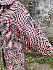 Vtg 60's Raymond of London Red Black White Wool Blend Cape Coat. 8/10 small 12