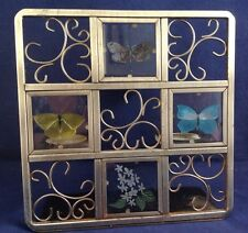 Stained Glass Etched Butterflies Display Candle Holder Iron Rustic/Rust 7-1/2""