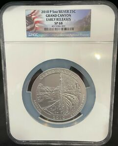 2010 P 5oz SILVER 25C GRAND CANYON EARLY RELEASES SP68