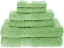 6-pc Towel Set Bamboo & Cotton 2 Bath Towels, 2 Hand, 2 Washcloths Spring Green