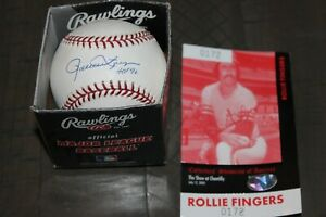 Baseball Hall Of Fame Rollie Fingers Autographed Baseball  Oakland A's With COA