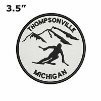 "Thompsonville, Michigan - Extreme Skier 3.5"" Embroidered Iron or Sew-on Patch"