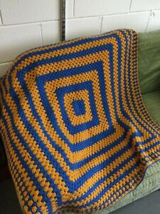 Granny Squares Crochet Blanket Throw Handmade Hand Crafted Retro Square W265