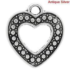 6 Pcs Charm Pendants Heart Antique Silver Dot Pattern Carved 21x19mm LC2403
