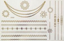 Tattoo Einmal Flash Klebe Temporary Gold 15teile Armband Hals Kette Ring Body E2