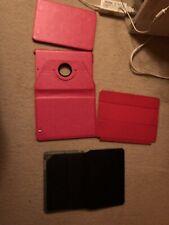 Apple iPad Mini iPad 360 Rotating Leather Folio Case Covers Stand Red & Black