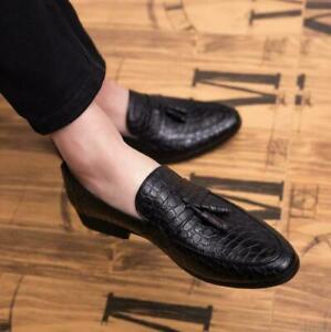 Men Formal Shoes Loafers Comfy Alligator Leather Dress Business Slip On Tassel