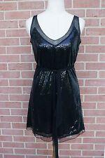 WOMENS XX1 BLACK SLEEVELESS DRESS SEQUIN WITH BELT SIZE S