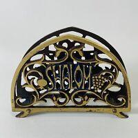 Shalom Jerusalem Metal Letter Napkin Holder Display Vintage Home Decor