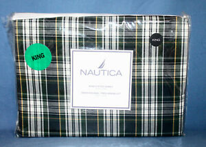 """New NAUTICA Andover Plaid King Fitted Sheet 100% Cotton 210 TC 78"""" x 80"""""""