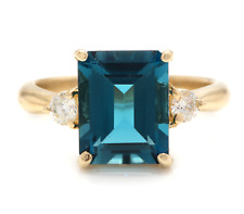 3.48 Carats Natural London Blue Topaz and Diamond 14K Solid Yellow Gold Ring