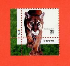 US Scott # 3105m 32¢ Endangered Species Florida Panther NH OG W/plate #