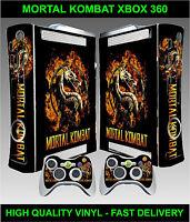Xbox 360 Console Sticker Skin Mortal Kombat Style & 2 X Controller Skins