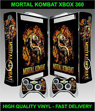 Xbox 360 Console Sticker Skin Mortal Kombat Style & 2 X Controller Skins