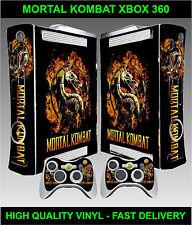 XBOX 360 console ADESIVO SKIN MORTAL KOMBAT Style & 2 X CONTROLLER pelli