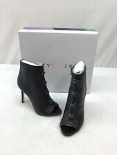 """Katy Perry """"The Fame"""" Black Leather Stiletto Peep Toe Booties Size 5M L2299"""