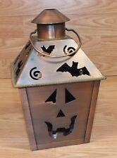 Unbranded Metal Brass Tone Halloween Bat Swirl Design Tea Light Lantern Decor