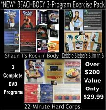 Beachbody DVD Exercise Pack 3 SETS: ROCKIN BODY, SLIM in 6, 22 Minute Hard Corps
