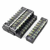 600V 15A 2 Row 8P Screw Connector Electric Barrier Terminal Block Strip 6Pcs
