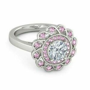 US SELLER FLOWER PINK & WHITE SAPPHIRE SIMULATED SILVER PLATED SIZE 5.5 RING