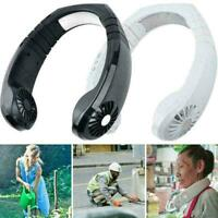 Portable Mini Neck Band Fan Double Wind Head USB Air Cooler Outdoor K7V6 C7 X1M1