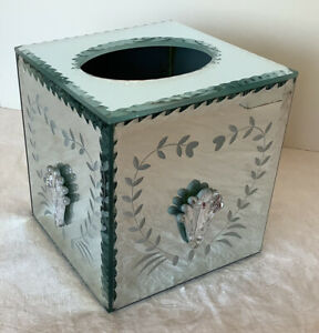 Rare Mirrored Etched Tissue Box Cover