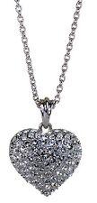 Swarovski Elements Crystal Puffed Heart Pendant Necklace Rhodium Authentic 7116w