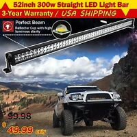 52INCH 300W LED WORK LIGHT BAR COMBO SPOT FLOOD DRIVING OFFROAD 4WD SUV JEEP 50