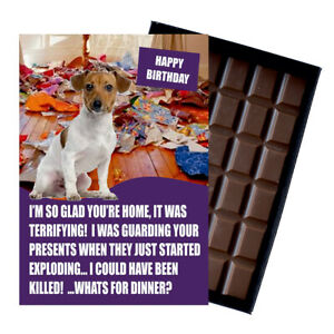 Jack Russel Birthday Card for Dog Lover Gift Idea 100g Chocolate Bar Him Her UK